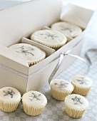White cup-cakes and petit fours for giving