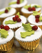 Cup-cakes in gold cases for Christmas