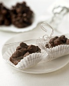 Packaged chocolate biscuits with nuts and raisins