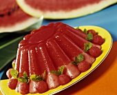 Turned-out watermelon blancmange
