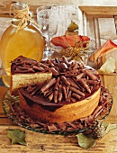 Tree cake gateau with chocolate curls