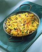 Paella in iron pan