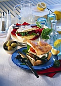 Sandwich with lamb frikadella & ciabatta with cheese & pesto