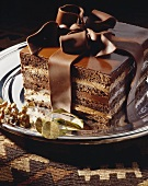 Chocolate mocha gateau with chocolate bow