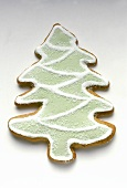 Gingerbread fir tree with green and white icing