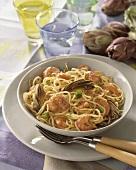 Spaghetti mare orto (Spaghetti with scampi and artichokes)