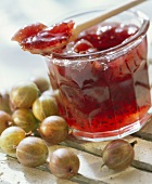 Gooseberry jam in jar and on wooden spoon