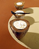 Coconut mousse in coconut shell