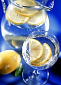 Mineral water with slices of lemon