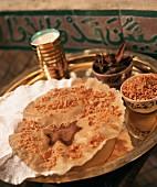 Milk pastilla (crispy sheets of pastry with milk sauce)