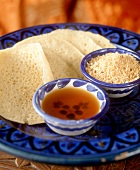 Beghrir (North African pancake with honey)
