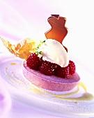 Raspberry mousse with raspberries & lavender ice cream