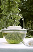 Herb tea in glass teapot