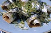 Marinated sardine rolls with herbs
