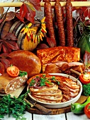 Meat products from Hungary, pressack, paprika bacon & sausage