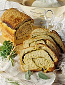 Herb bread sprinkled with sesame