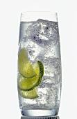 Glas Mineralwasser mit Eiswürfeln und Zitronenscheiben