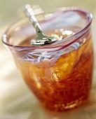 Rose jelly in jar