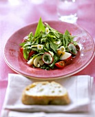 Spring salad with spinach and ramsons (wild garlic)