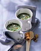 Ramsons (wild garlic) soup with salmon strips