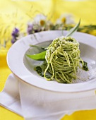 Spaghetti with ramsons (wild garlic) pesto