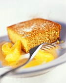Yoghurt and semolina slice with apricot sauce