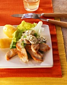Strips of chicken breast with remoulade sauce & boiled potatoes