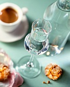 A glass of grappa and a cup of espresso