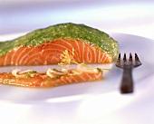 Salmon fillet with coriander pesto