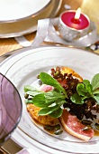 Salad with smoked duck breast and pineapple