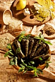 Stuffed vine leaves with ingredients