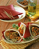 Wraps with meatballs and tomato sauce