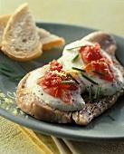 Gratin of turkey escalope with mozzarella