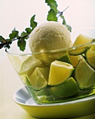 Lime ice cream garnished with lime pieces