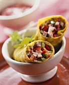 Wraps with vegetable and meat filling