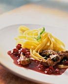 Calf's liver with balsamic onions and tagliatelle