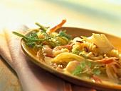 Fusilli gialli (Fusilli with  shrimps in saffron fennel sauce)