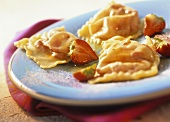 Pasta parcels with strawberry filling