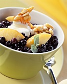 Blueberry and medlar salad with caramelised pine nuts