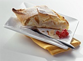 A piece of pear strudel