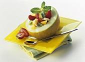 Fruit salad in galia melon