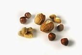 Peanuts, hazelnuts and walnuts with shells