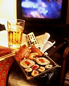 Take-away sushi for an evening of TV