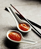 China spoon with Chinese sauce