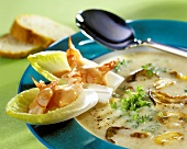 Cream of mushroom soup with button & oyster mushrooms & shrimps