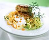 Salmon frikadelle on vegetable spaghetti