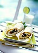 Tortilla wraps, filled with mozzarella & mango chutney