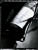 Bottle of 1990 Chateau Mouton Rothschild (b/w photo)
