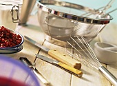 Various kitchen tools and cranberries