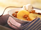 Apple rings in Calvados with almonds & scoop of ice cream